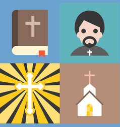 about christian and church icons set vector image