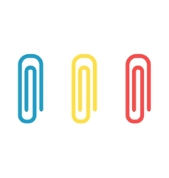 Colorful paper clips set office attachment vector image