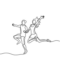 happy jumping couple vector image