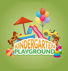kindergarten playground flat composition vector image