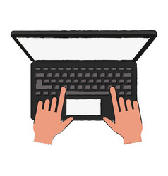laptop open isolated vector image