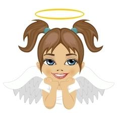 little angel girl dreaming over white background vector image vector image