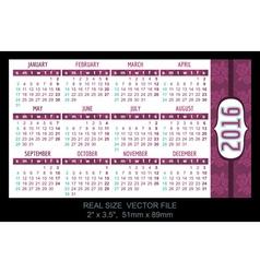 Pocket Calendar 2016 start on Sunday vector image vector image