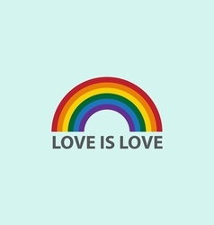 Rainbow icon with word love is loveLGBT support sy vector image vector image
