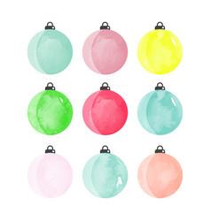 set of decorative watercolor christmas balls vector image