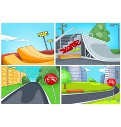 Cartoon set of skatepark and bike lane backgrounds vector image