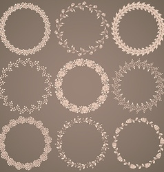Round hand drawn floral pattern wreaths vector image
