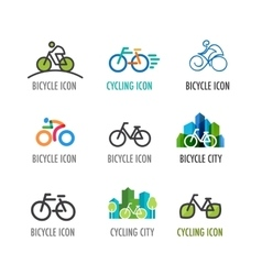 set of bicycle icons and symbols vector image vector image