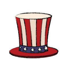 top hat with flag american color vector image vector image