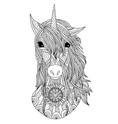 Unicorn head coloring page vector