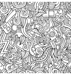 Cartoon hand-drawn doodles of photography vector image