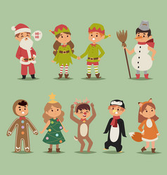kids costume boys and girls cartoon vector image