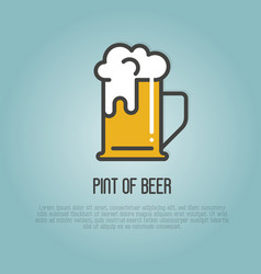 pint of beer with white foam vector image
