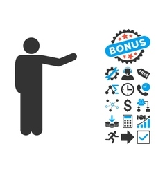 Showing Man Flat Icon with Bonus vector image vector image