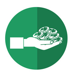 st patricks day hand holding coins shadow vector image