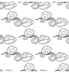 Vintage doodle cartoon clouds seamless pattern vector image