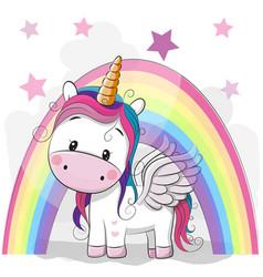 Cute cartoon unicorn and rainbow vector