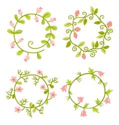 Floral Frames set Cute retro flowers wreath vector image