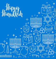 happy hanukkah celebration card with holiday vector image