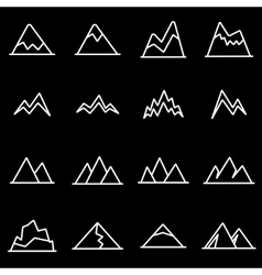 line mountains icon set vector image vector image