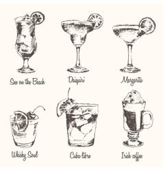 Set cocktail Margarita Whiskey drawn sketch vector image vector image