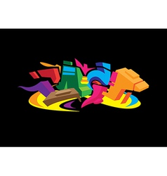 3D Graffiti design vector image