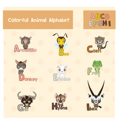 animal abc from letter a - i vector image
