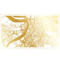 Antwerp belgium city map in retro style in golden vector