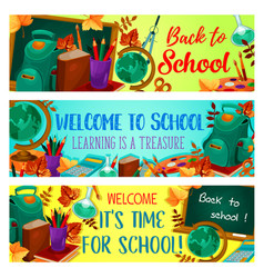 back to school autumn season banners vector image