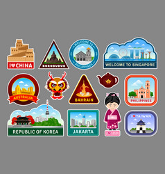 Big set of travel stickers with famous asian vector