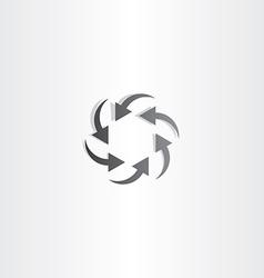 Black arrow circle hexagon vector