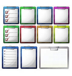 Blank paper on clipboards vector image