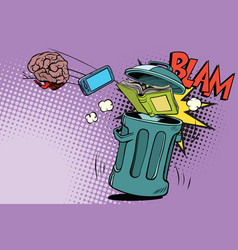brain electronics and a book thrown in trash vector image