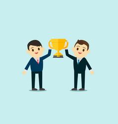 Business men wear suite show up trophy cup vector
