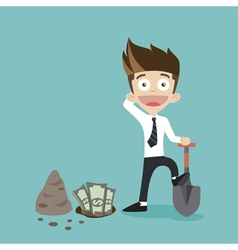 Businessman dig some money vector