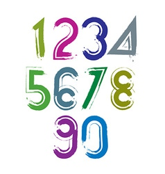 Calligraphic brush numbers with white outline vector image