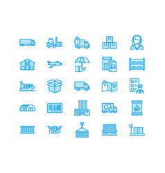 Cargo transportation flat line icons trucking vector
