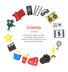 cartoon cinema banner card circle vector image