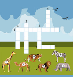 cartoon crossword game with african animals vector image