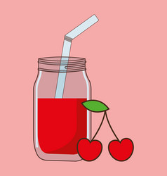 Cherry juice with straw icon image vector