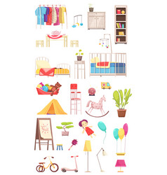 children room interior elements set vector image