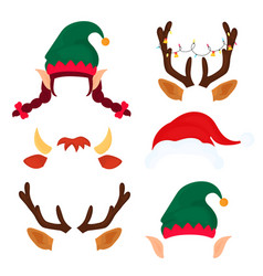 Christmas antlers with light garland elf hat and vector