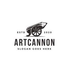 Classic old cannon pencil logo art cannon logo vector