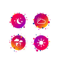 cloud and sun icon storm symbol moon and stars vector image