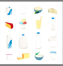 collection dairy products milk butter cheese vector image
