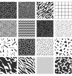 collection retro memphis patterns vector image