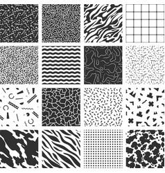 collection retro memphis patterns vector image