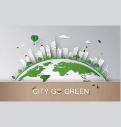 concept of eco with building and nature paper art vector image
