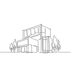 Continuous one line drawing luxury house vector