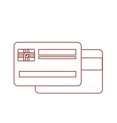credit card both sides in dark red contour vector image